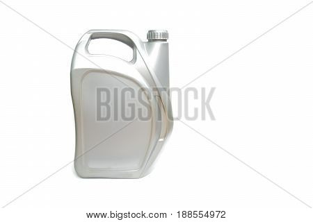 gray plastic canister of motor oil isolated on white background