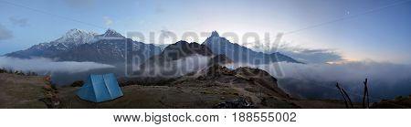 Mountain panorama Landscape in Himalaya. Sunrise, Machapuchare peak view. Nepal, Annapurna region, Mardi Himal track.