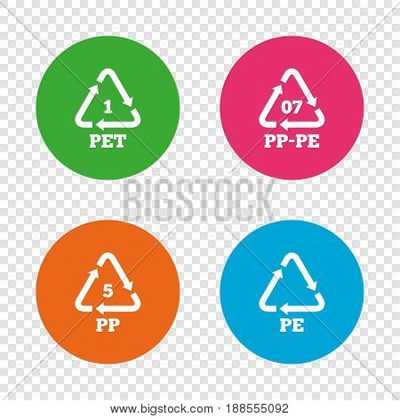 PET 1, PP-pe 07, PP 5 and PE icons. High-density Polyethylene terephthalate sign. Recycling symbol. Round buttons on transparent background. Vector