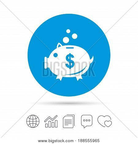 Piggy bank sign icon. Moneybox dollar symbol. Copy files, chat speech bubble and chart web icons. Vector