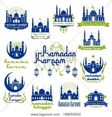 Ramadan Kareem holy month celebration symbols. Arabic muslim mosque blue silhouette with moon, lantern and star. Traditional festival of islamic religion and Eid Ramadan greeting card design