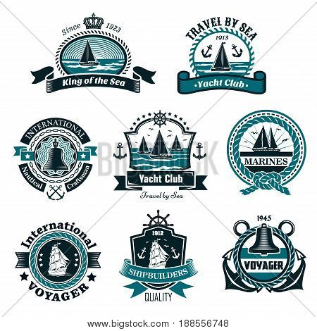 Nautical and marine icons set for yachting club or ship builders and seafarer heraldic badges. Vector isolated symbols of ship anchor, seagulls and sailor knot rope, captain helm wreath with stars