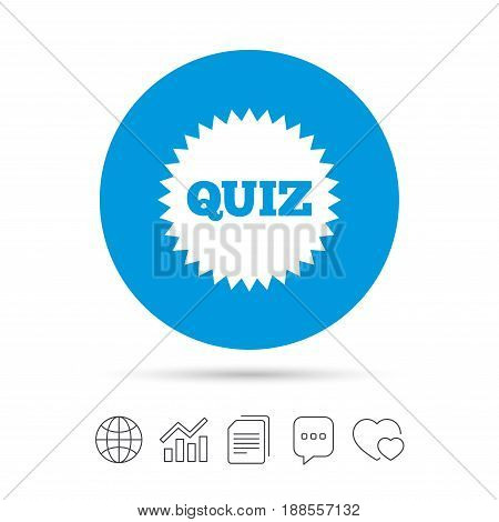 Quiz star sign icon. Questions and answers game symbol. Copy files, chat speech bubble and chart web icons. Vector