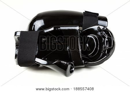 Black Foam Sparring Gloves On A White Background