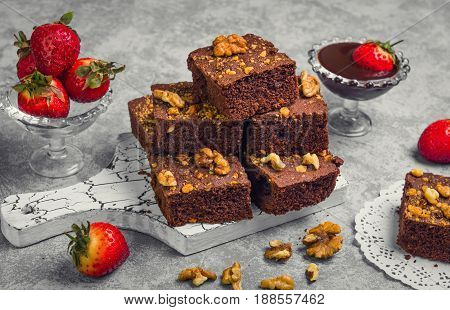 Delicious Homemade Brownie With Strawberry