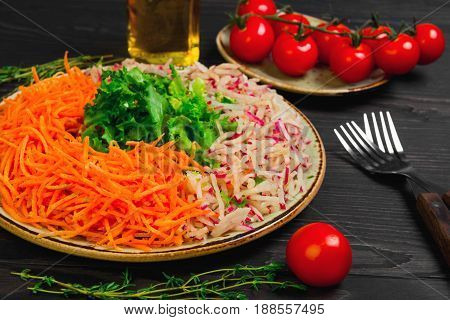 Salad With Carrot, Radish And Lettuce