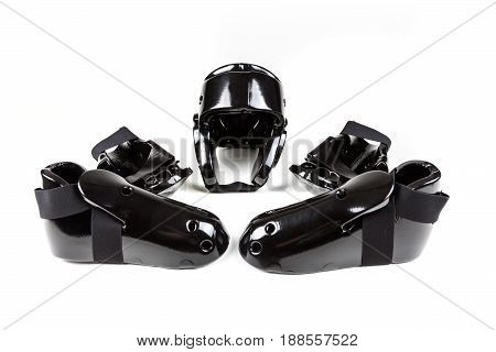 Black Foam Sparring Protection Set On A White Background