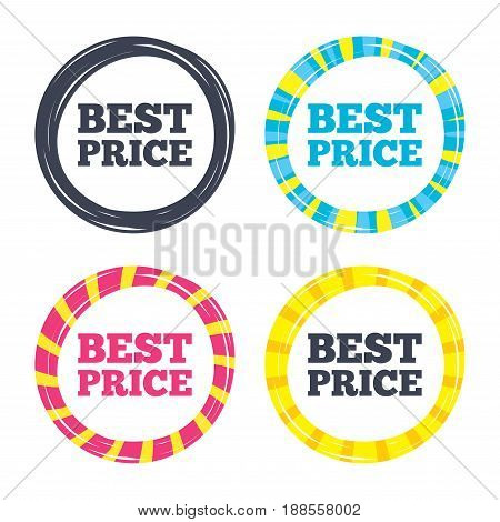 Best price sign icon. Special offer symbol. Colored buttons with icons. Poker chip concept. Vector