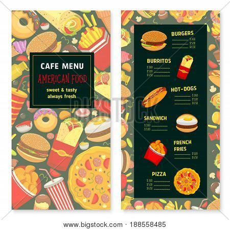 Fast food menu template for restaurant or cafe. Vector design template of burgers and burritos, hot dogs or sandwiches and pizza. Fastfood desserts, french fries or donuts and cakes with ice cream
