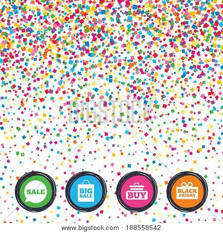 Web buttons on background of confetti. Sale speech bubble icons. Buy cart symbols. Black friday gift box signs. Big sale shopping bag. Bright stylish design. Vector