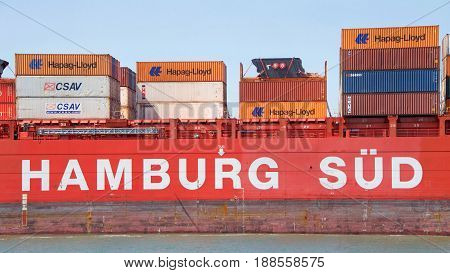 Oakland CA - May 28 2017: Hamburg SUD a shipping line on the North-South ocean trade routes was part of the Oetker Group. Sold to A.P. Moller–Maersk Group's shipping division Maersk Line
