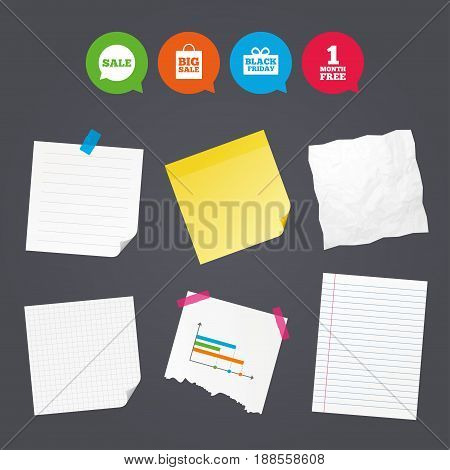 Business paper banners with notes. Sale speech bubble icon. Black friday gift box symbol. Big sale shopping bag. First month free sign. Sticky colorful tape. Speech bubbles with icons. Vector