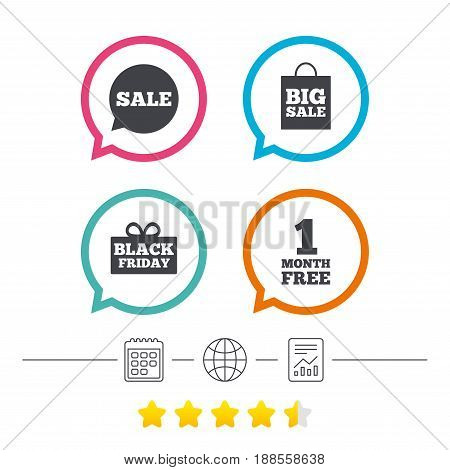 Sale speech bubble icon. Black friday gift box symbol. Big sale shopping bag. First month free sign. Calendar, internet globe and report linear icons. Star vote ranking. Vector