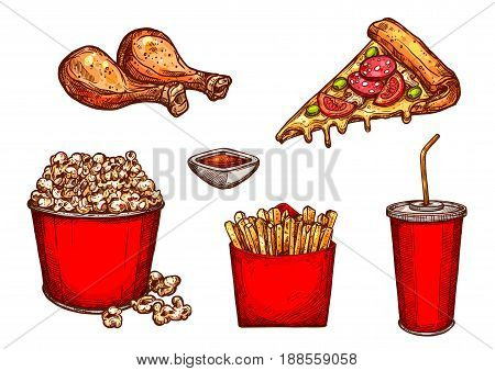 Fast food snacks, meals and drinks sketch icons set. Vector isolated symbols of grilled chicken legs, pizza slice and ketchup sauce, popcorn basket, french fries or soda for fastfood restaurant menu