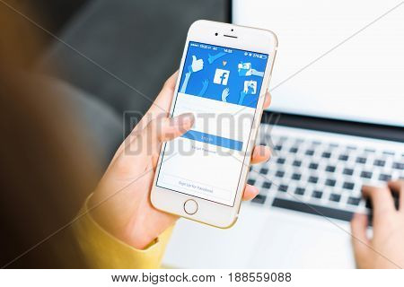 BANGKOK THAILAND - May 30, 2017 : Login Screen Facebook icons on Apple IPhone. largest and most popular social networking site in the world.