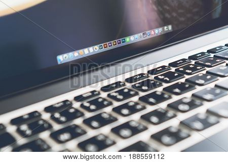 BANGKOK THAILAND - May 30, 2017 : close up app photoshop icon on apple macbook pro Adobe Systems is a software company that specializes on the creation of multimedia and creativity software products.