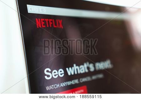 BANGKOK THAILAND - May 30, 2017 : Close up Netflix app icon on Laptop screen. Netflix is an international leading subscription service for watching TV episodes and movies.