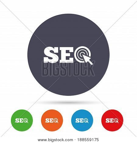 SEO sign icon. Search Engine Optimization symbol. Round colourful buttons with flat icons. Vector