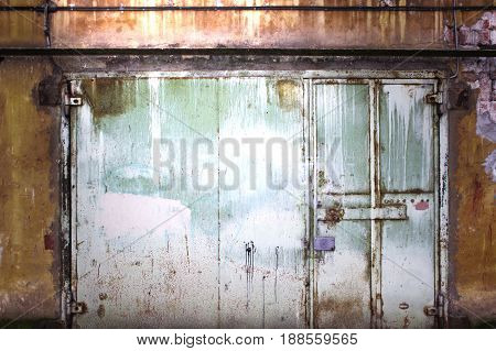 Metal Gate Covered With Shabby Paint, Grunge Background