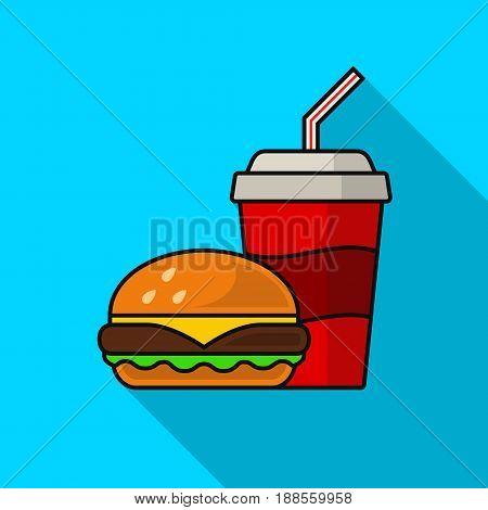 Hamburger and cola flat icon with long shadow. Vector illustration.