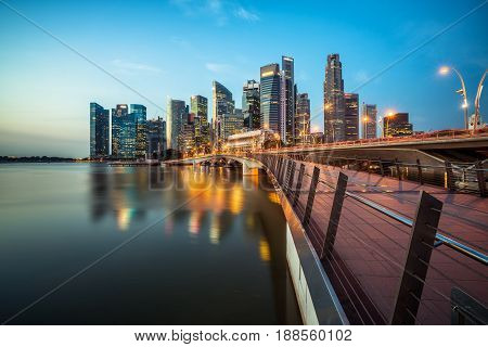 Singapore Central Business District Skyline At Blue Hour
