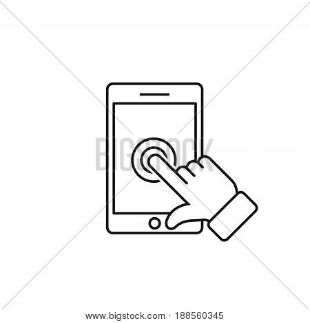 Phone touch screen with finger outline icon vector touch smartphone isolated simple symbol.