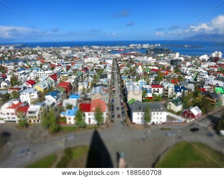 Reykjavik from above, tiltshift effect in Iceland