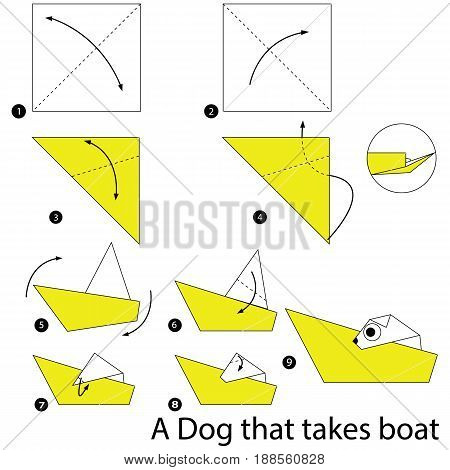 Step by step instructions how to make origami A Dog that takes boat.