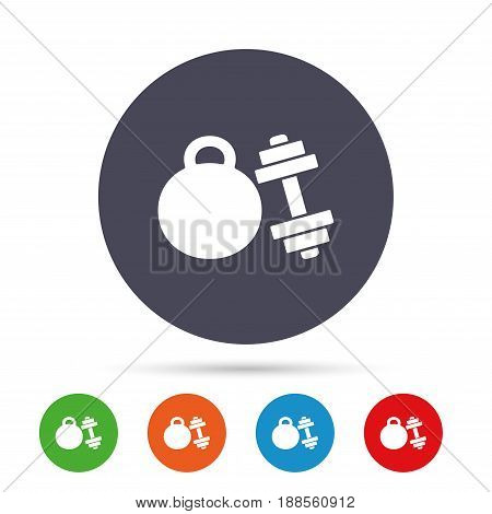 Dumbbell with kettlebell sign icon. Fitness sport symbol. Gym workout equipment. Round colourful buttons with flat icons. Vector