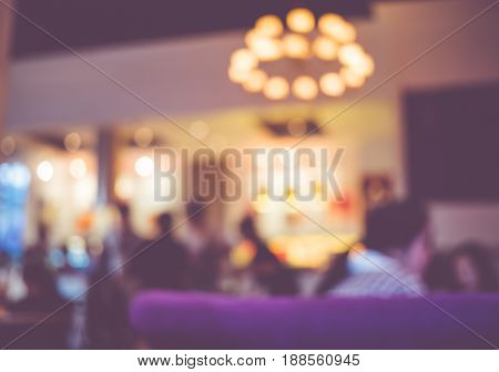 Blurred Background,people Chat At Nightclub With Bokeh Light