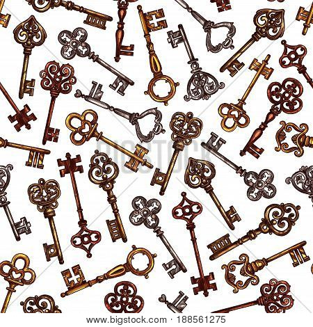 Vintage keys vector seamless pattern. Heraldic old brass or metal bronze forged lock keys of antique medieval castle or royal fortress doors and gates with ornate and flourish bows or wards