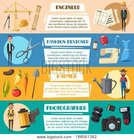 Engineer, farmer, fashion designer and photographer professions banners. Vector work tools camera flash and film, scissors and sewing machine, agriculture harvest and tractor and construction winch