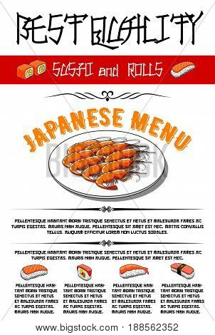 Japanese sushi and rolls menu template. Vector design for seafood restaurant of tempura shrimps or grill prawns, salmon and tuna sashimi with ginger and wasabi, chopsticks and soy sauce for sushi bar