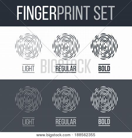 Abstract Biometric Fingerprint Icons Set Sci-Fi Future Identification Authorization System on Dark and White Background