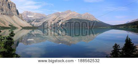 Beautiful Bow Lake a Panorama in Canada