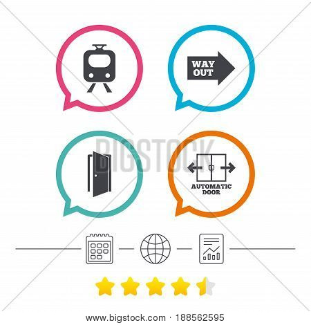 Train railway icon. Automatic door symbol. Way out arrow sign. Calendar, internet globe and report linear icons. Star vote ranking. Vector