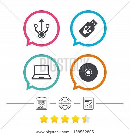 Usb flash drive icons. Notebook or Laptop pc symbols. CD or DVD sign. Compact disc. Calendar, internet globe and report linear icons. Star vote ranking. Vector