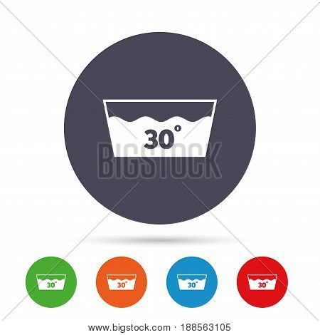 Wash icon. Machine washable at 30 degrees symbol. Round colourful buttons with flat icons. Vector