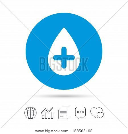 Water drop with plus sign icon. Softens water symbol. Copy files, chat speech bubble and chart web icons. Vector