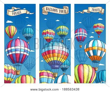 Hot air balloon voyage or travel tour banners. Vector sketch design set for summer open air festival. Inflated hopper balloons with pattern decor of zig zag, square checkered patch or stripes