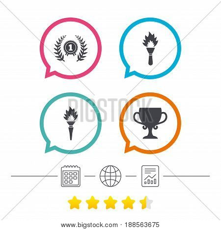 First place award cup icons. Laurel wreath sign. Torch fire flame symbol. Prize for winner. Calendar, internet globe and report linear icons. Star vote ranking. Vector