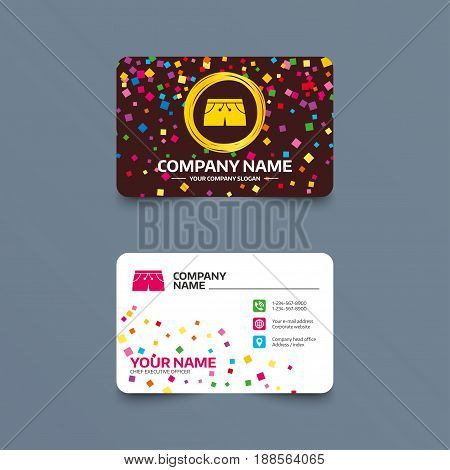 Business card template with confetti pieces. Women's sport shorts sign icon. Clothing symbol. Phone, web and location icons. Visiting card  Vector
