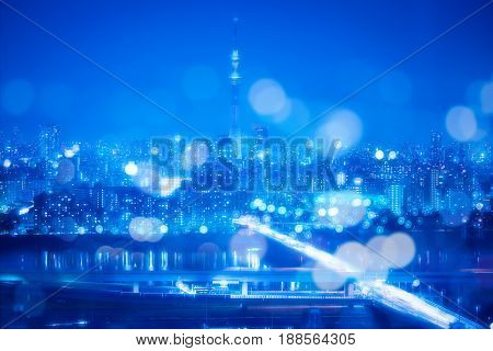 Tokyo City Night Background With Blur Bokeh Lights