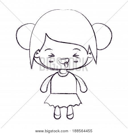 blurred thin silhouette of kawaii little girl with collected hair and facial expression unpleasant vector illustration