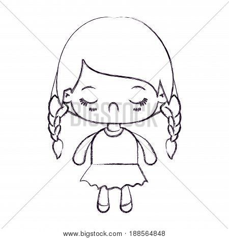 blurred thin silhouette of kawaii little girl with braided hair and facial expression disgust vector illustration