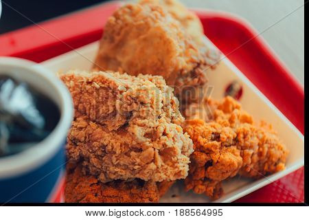 fried chicken with cola junk food unhealthy fatty fast food.