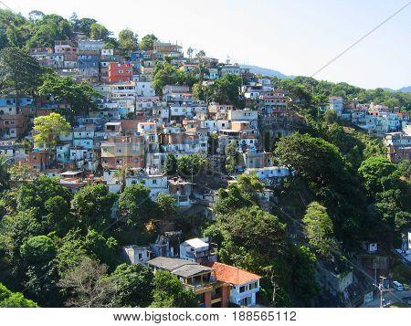 RIO DE JANEIRO, BRAZIL - OCTOBER 5, 2003: Favelas of Rio de Janeiro in Brazil