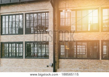 modern industry building. vintage industrial factory loft style design architecture large windows for background.