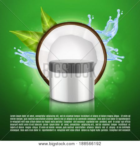 Realistic cosmetic container with coconut slice. Coconut oil concept. Container for cream, lotion and other product. Design for ads or magazine. Elite cosmetics. 3d illustration. EPS10 vector