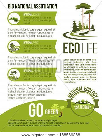 Parks and garden landscape and gardening national association or horticulture company poster. Vector design of eco parklands and woodlands, green trees on squares, nature and forest greenery